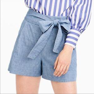 J.Crew Chambray High Tie Waist Shorts Size 10